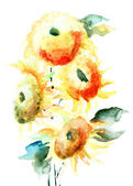 Sunflower in watercolor — 图库照片