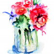 Stock Photo: Beautiful flowers in vase
