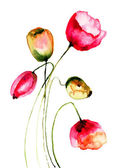 Tulips flowers, watercolor illustration — Stock Photo