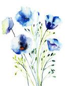 Decoratieve blauwe bloemen — Stockfoto