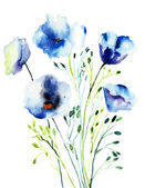 Flores decorativas azuis — Foto Stock