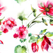 Seamless wallpaper with Geranium and Peony flowers — Foto de Stock