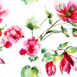 Seamless wallpaper with Geranium and Peony flowers — Stok fotoğraf