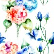 Seamless wallpaper with original flowers — Stock Photo