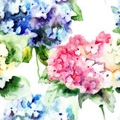 Bezešvé vzor krásné hortenzie, modré květy — Stock fotografie