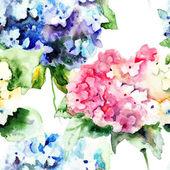美しい青紫陽花とのシームレスなパターン — ストック写真