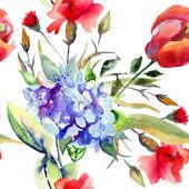Bezešvá tapeta s krásnou letní květiny — Stock fotografie