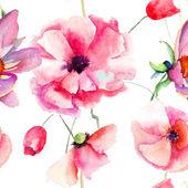Seamless pattern Beautiful Poppy flowers — Stock Photo