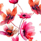 Watercolor illustration with beautiful flowers — Stok fotoğraf