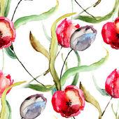 美しいチューリップの花でシームレスな壁紙 — ストック写真