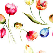 Seamless background with beautiful Tulips flowers — Stock Photo