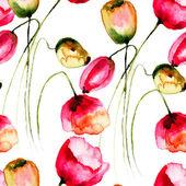 シームレスな壁紙のチューリップの花 — ストック写真