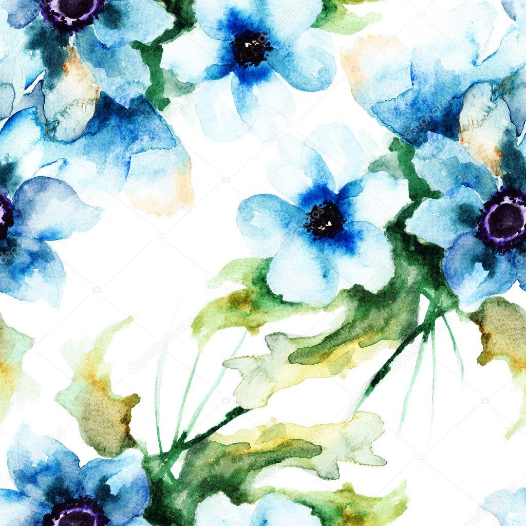 Fond décran sans couture avec les fleurs dété bleu \u2013 Image