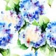 Seamless pattern with Beautiful Hydrangea blue flowers — Stock Photo
