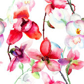 Seamless pattern with Beautiful orchid — Stock Photo