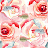 Watercolor painting with Rose flowers — Stock Photo
