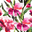 Watercolor ilustration with Beautiful pink flowers — 图库照片