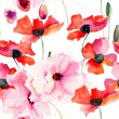 Seamless wallpaper with Colorful pink flowers — Stock Photo