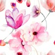 Watercolor seamless pattern with Pink flowers — Stock Photo