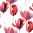 Seamless wallpaper with Tulips flowers — Stock Photo