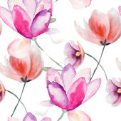 Colorful pink flowers, watercolor illustration — Stock Photo