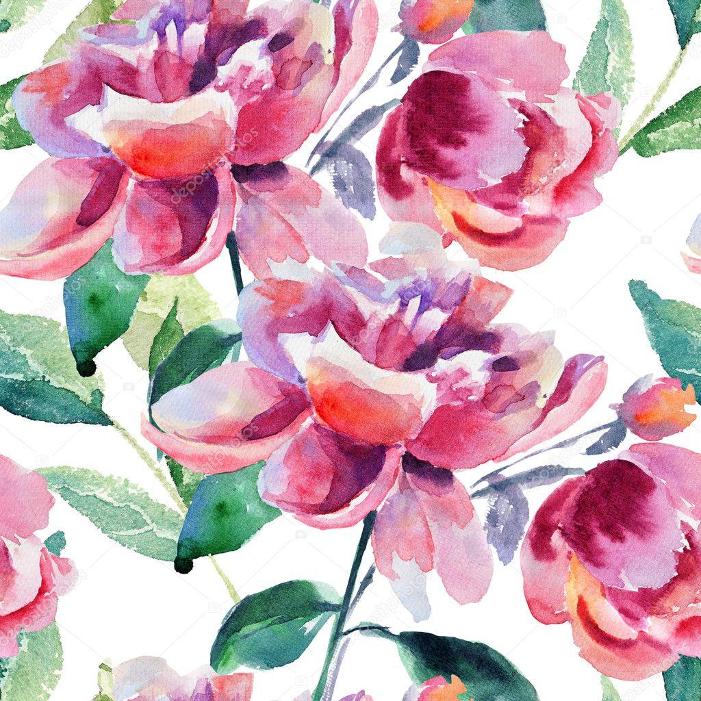 Seamless Wallpaper With Beautiful Peony Flower