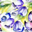 Spring Tulips flowers watercolor illustration — Stock Photo