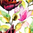 Stock Photo: Seamless pattern with Black Tulip and Magnolia flowers