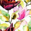 Seamless pattern with Black Tulip and Magnolia flowers — Stock Photo