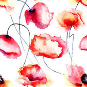 Colorful Poppy flowers, seamless pattern — Stock Photo