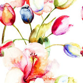 Watercolor painting of Tulips and Lily flowers — Stock Photo