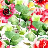 Bezešvé vzor s barevnými červené květy — Stock fotografie