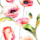 Illustrazione ad acquerello di papaveri fiori — Foto Stock