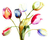 Watercolor painting of Tulips flowers — Stock Photo