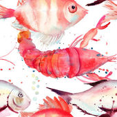 Watercolor illustration of lobster and fish — Stock Photo