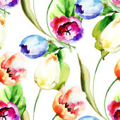 Seamless pattern with Tulips flowers — Stock Photo
