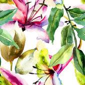 Naadloze patroon met lily bloemen — Stockfoto