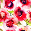 Seamless pattern with  Beautiful red flowers — Stock Photo