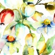 Stock Photo: Watercolor painting of Tulips and Chamomile flowers