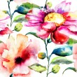 Seamless pattern with Ipomea flowers illustration — ストック写真
