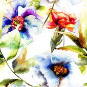 Seamless pattern with Beautiful flowers — Stock Photo