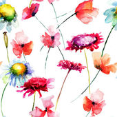 Watercolor illustration with wild flowers — Stock Photo