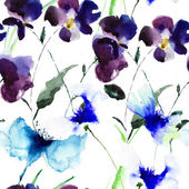 Watercolor illustration of Violet flowers — Stock Photo