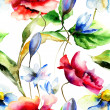 Watercolor illustration with flowers — Stock Photo #37097923