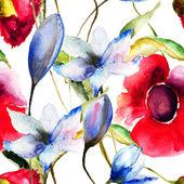 Naadloze behang met originele bloemen — Stockfoto
