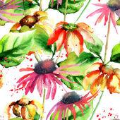 シームレスなパターン装飾花 — ストック写真