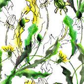 Seamess pattern with Dandelion flowers — Foto de Stock