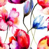 Original watercolor illustration with flowers — Stok fotoğraf