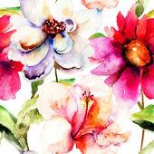 Papel de parede sem costura com flores — Fotografia Stock