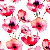 бесшовный фон с красными цветами мака — Стоковое фото